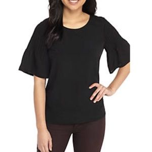 French Connection | Black Cotton Bell Sleeve Top
